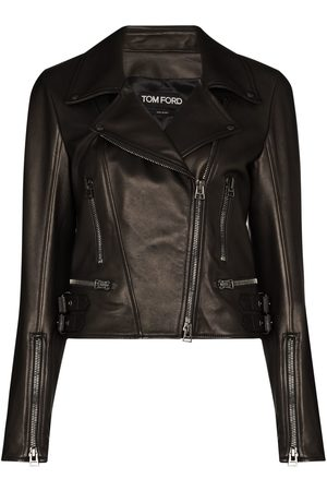 Tom Ford Women Leather Jackets - Leather biker jacket
