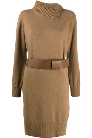 Fabiana Filippi Asymmetric collar turtleneck dress
