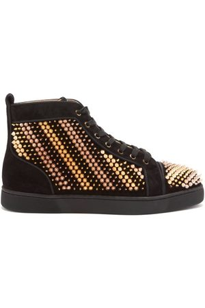 Christian Louboutin Galvalouis Spike-embellished Suede Trainers - Mens - Multi