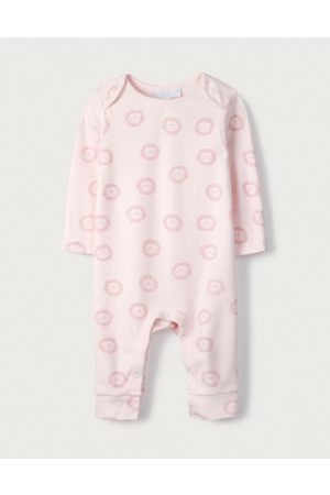 The White Company Organic Cotton Pink Lion Sleepsuit