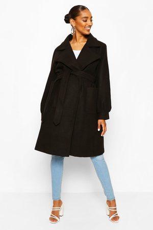 Boohoo Womens Maternity Wrap Pocket Front Coat - - 4