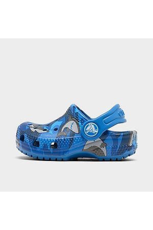 Crocs Kids' Toddler Classic Shark Clog Shoes in /Animal Print/Prep Size 7.0