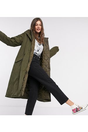 ASOS ASOS DESIGN Tall double layered quilted parka in khaki