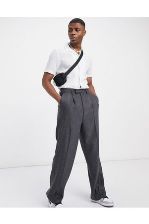 ASOS High waist wool mix smart pants with wide leg in charcoal