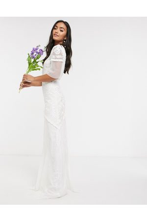 Frock and Frill Women Maxi Dresses - Bridal maxi dress with embellishment and frill detail