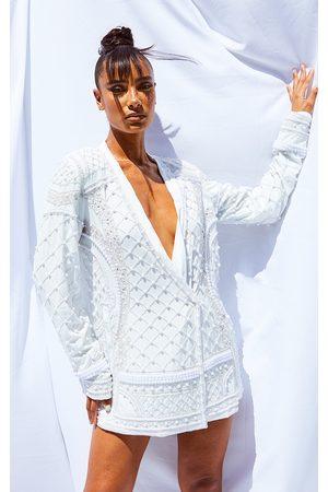 PRETTYLITTLETHING Premium Embellished Beaded Oversized Blazer
