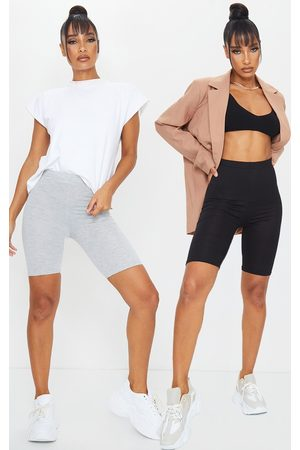 PRETTYLITTLETHING Grey and Basic Bike Short 2 Pack