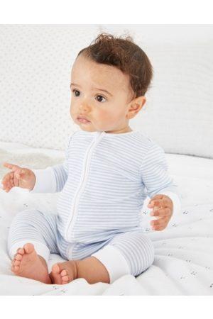 The White Company Organic Cotton Stripe Zip Sleepsuit