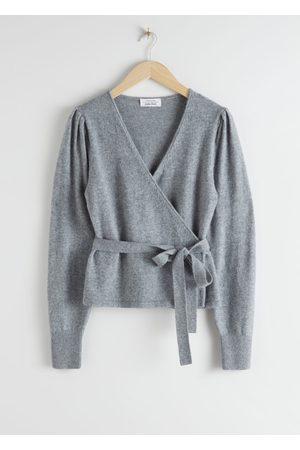 & OTHER STORIES Wool Alpaca Blend Wrap Cardigan - Grey
