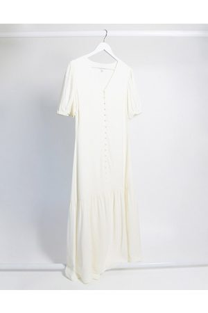 & OTHER STORIES & puff sleeve button-through maxi dress in eggshell -Cream