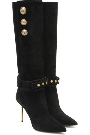 Balmain Suede knee-high boots