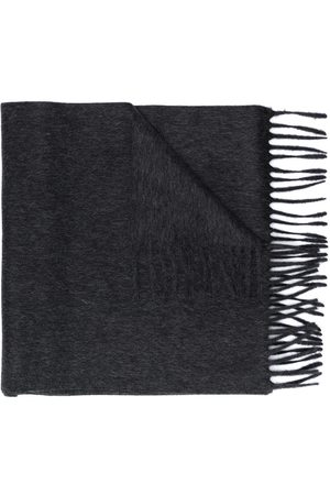 Saint Laurent Logo patch fringed scarf - Grey