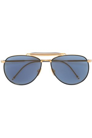 Thom Browne Matte Navy & Yellow Gold Aviator Sunglasses