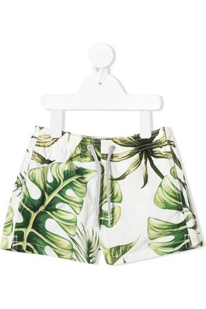 MC2 Saint Barth Boys Swim Shorts - Jumbo leaves print swim shorts