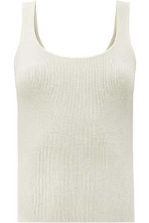 CO Sop-neck Ribbed-knit Cashmere Tank Top - Womens - Ivory