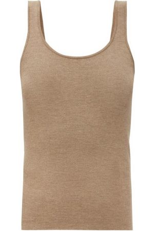 CO Women Tank Tops - Sop-neck Ribbed-knit Cashmere Tank Top - Womens