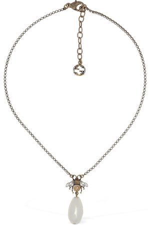 Gucci Bee Motif Crystal Charm Necklace