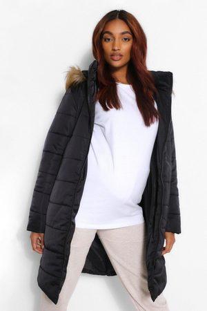 Boohoo Womens Maternity Padded Faux Fur Trim Coat - - 4