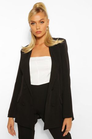 Boohoo Womens Woven Double Breasted Pocket Blazer - - 4