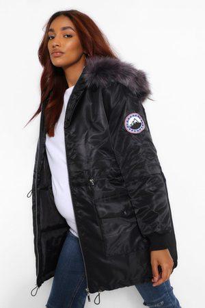 Boohoo Womens Maternity Faux Fur Trim Parka Coat - - 4