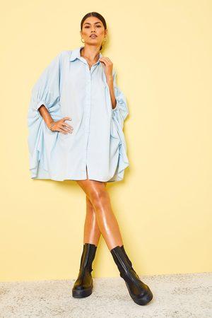 Boohoo Womens Oversized Batwing Sleeve Shirt Dress - - 4