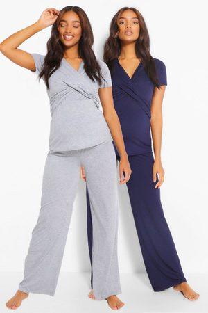 Boohoo Womens Maternity 2Pk Wrap Nursing Pj Trouser Set - - 6