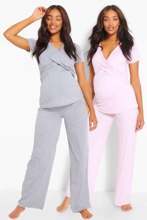Boohoo Womens Maternity 2Pk Wrap Nursing Pj Trouser Set - - 4