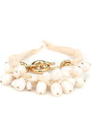 Jil Sander Silk and faux pearl bracelet