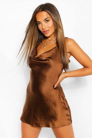 Boohoo Womens Petite Satin Cowl Neck Mini Dress - - 2