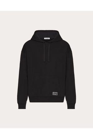 VALENTINO Hooded Viscose Sweatshirt With Vltn Tag Man Viscose 66%, Polyester 31%, Polyamide 3% L