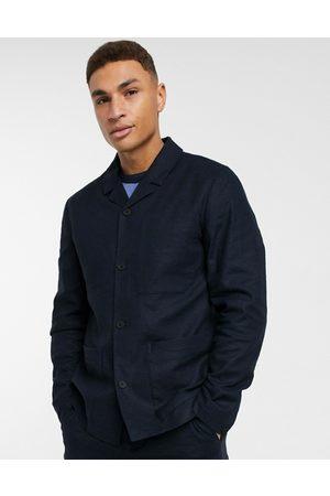 Selected Suits - Linen mix worker suit jacket in navy