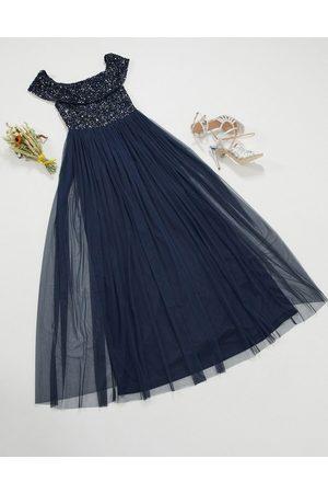 Maya Women Maxi Dresses - Bridesmaid bardot maxi tulle dress with tonal delicate sequins in navy