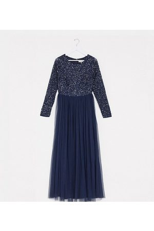 Maya Women Maxi Dresses - Bridesmaid long sleeve maxi tulle dress with tonal delicate sequins in navy