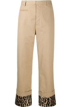 R13 Leopard print turn-up cuff trousers - Neutrals