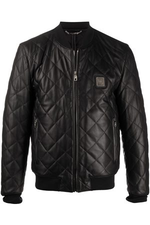 Dolce & Gabbana Men Leather Jackets - Quilted leather jacket with logo plaque