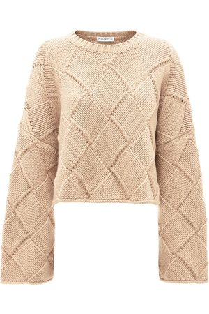 J.W.Anderson Cropped oversized crew neck jumper - Neutrals