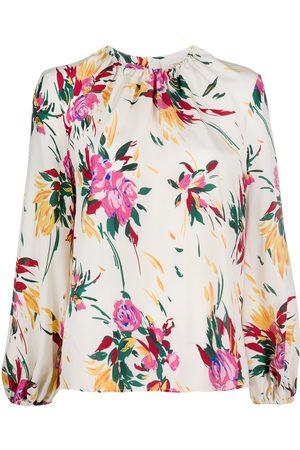 La DoubleJ Floral print long-sleeve blouse - Neutrals