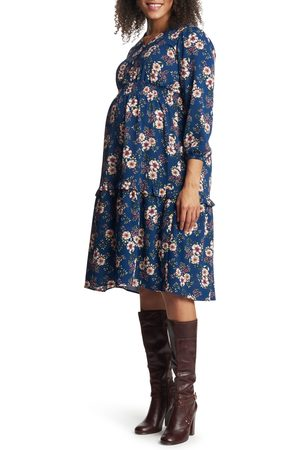 Everly Grey Women's Jenny Floral Long Sleeve Maternity/nursing Dress