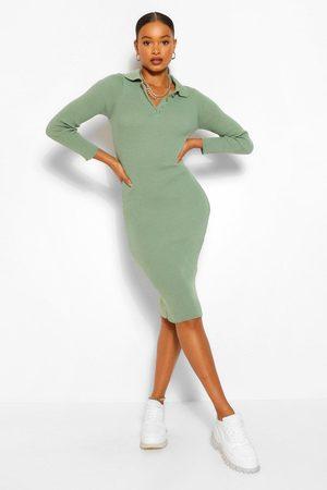 Boohoo Womens Polo Collar Rib Knit Midi Dress - - L