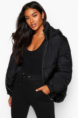 Boohoo Womens Hooded Quilt Detail Puffer - - 4