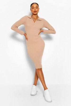 Boohoo Womens Polo Collar Rib Knit Midi Dress - - S