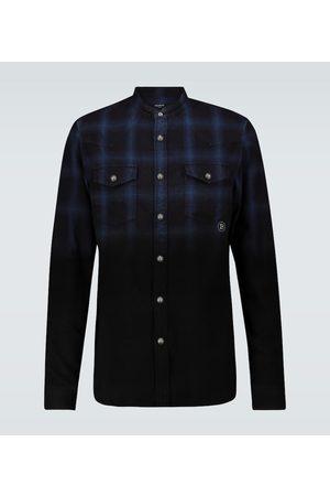 Balmain Dip-dyed checked cotton shirt
