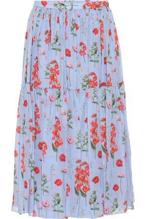 Carolina Herrera Floral pleated silk midi skirt