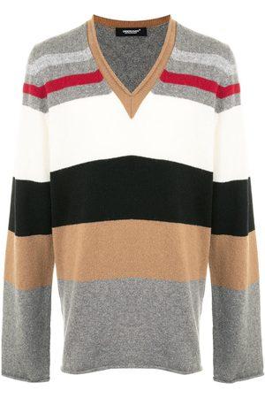 UNDERCOVER Striped v-neck jumper - Grey