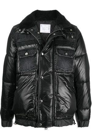 SACAI Men Denim Jackets - Padded jacket with denim detailing