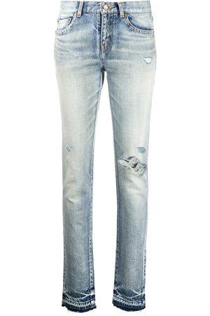 Saint Laurent Ripped-detail slim-fit jeans