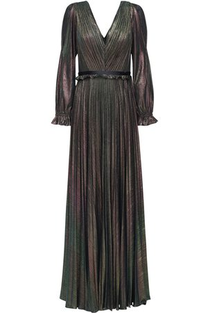 Marchesa Notte Pleated V Neck Lamé Long Dress