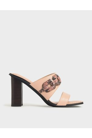 CHARLES & KEITH Mules - Leather Snake Print Mules