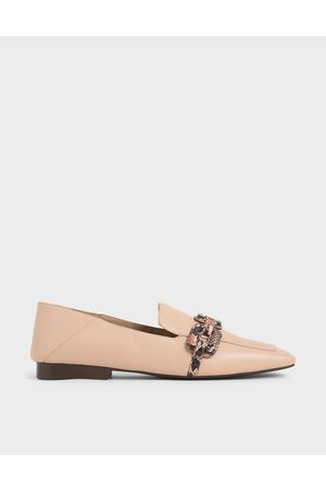 CHARLES & KEITH Leather Snake Print Step-Back Loafers