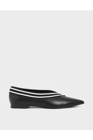 CHARLES & KEITH Striped Trim Ballerina Flats
